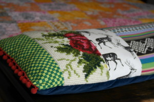 Beautiful cushion with retro tapestry