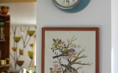 vintage retro clock and tapestry