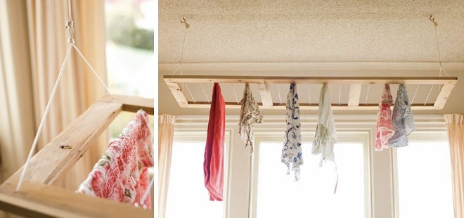 thrifty home diy ceiling hung clothes drying rack. Black Bedroom Furniture Sets. Home Design Ideas