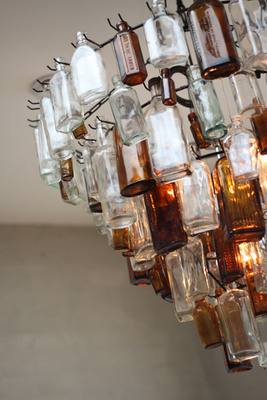 Recycled and Upcyced Glass Bottle chandelier